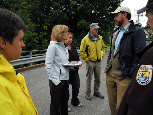 Rebecca Wodders (in hoodie) meets with partners of a fish passage project: U.S. Fish and Wildlife Service, The Nature Conservancy, and the State of Massachusetts. Credit: Jan Rowan/USFWS