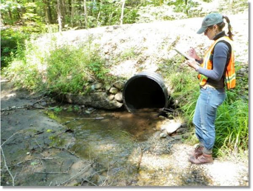 Summer field crews survey road-stream crossings to identify potential fish passage barriers. We use this data along with habitat information to develop barrier removal priorities. Credit: USFWS