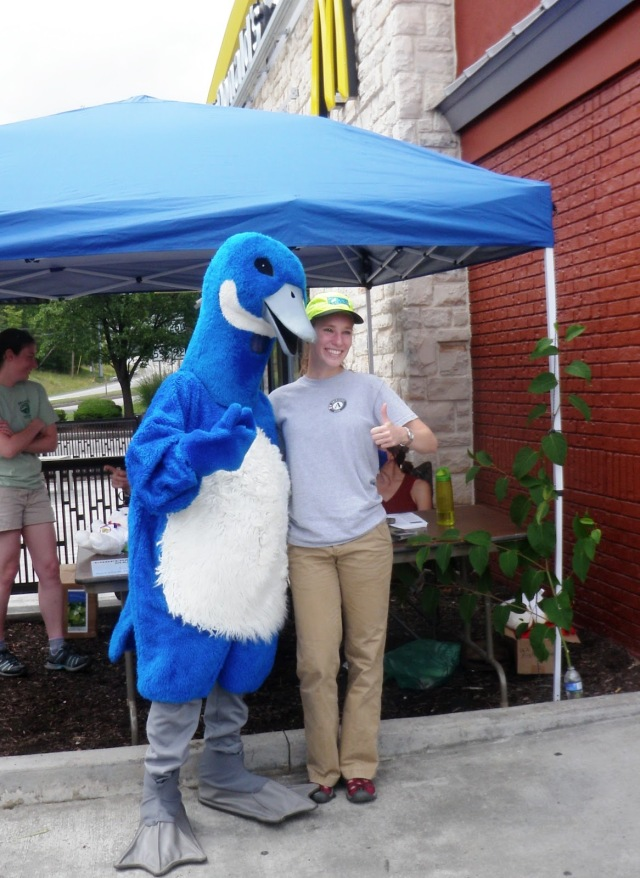 Puddles the Blue Goose with Devin Gill.