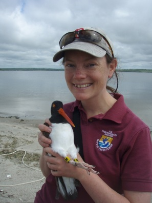Pam holding an American oystercatcher. Credit: USFWS