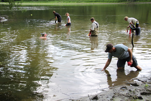 Mussel biologists in action. Credit: Ken Sturm, Missisquoi NWR manager