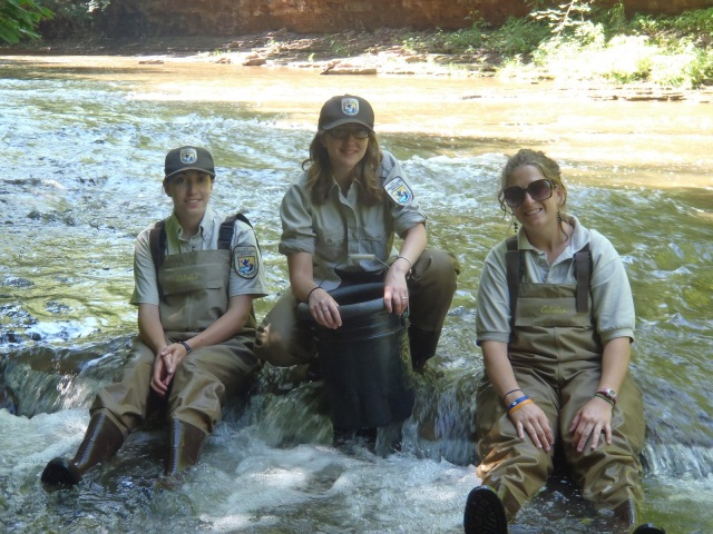 Elizabeth Migliore, Karolyn Lock and Tracy Wilcox take a break from mussel hunting in the stream. Credit: USFWS