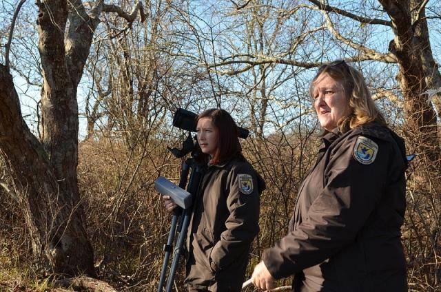 Rhonda Smith and Janis Nepshinsky assessing damage after Hurricane Sandy. Credit: Ashley Spratt/USFWS