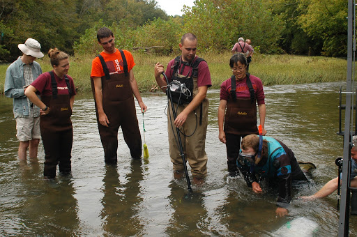 Staff and students from Virginia Tech in the Powell River in northeastern Tennessee. They are at the mussel release site finding mussels with PIT tags, electronic tags with numbers and letters that identify individual mussels. Credit: USFWS