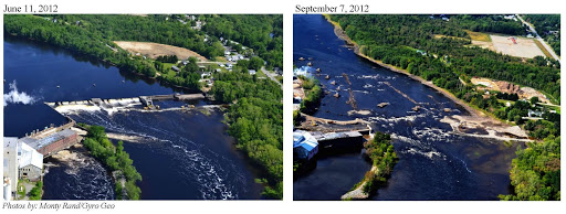Before and after aerial shots of the Great Works Dam site on Maine's Penobscot River.