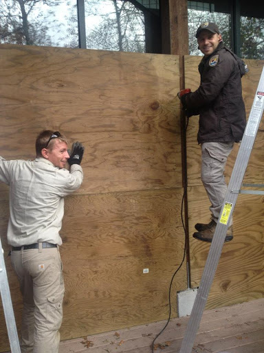 Refuge staff board up the Kettle Pond visitor center in Rhode Island to prepare for Hurricane Sandy.
