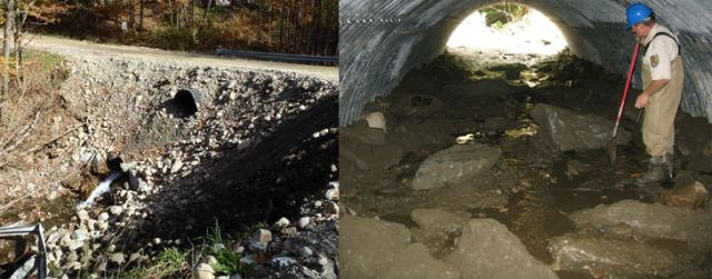 North Hollow Road culvert before Tropical Storm Irene (left) and after it was replaced with an open arch culvert (right).