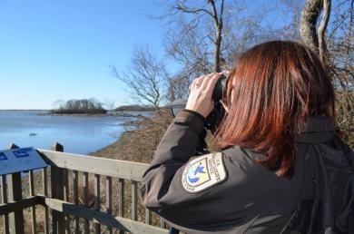 Biologist with binoculars.
