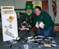 """Greg Thompson and Kate Toniolo helped bring the """"technotrash"""" electronics recycling program to the regional office."""