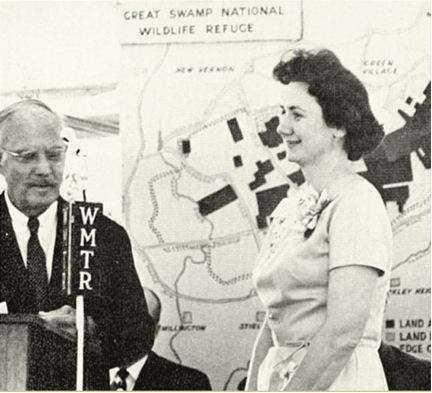 Warren Kinney and Helen Fenske at the refuge's dedication ceremony.