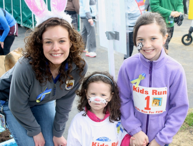 Today you're hearing from Meagan Racey (left), public affairs specialist for the Northeast Region. She's standing with two Bunny Hoppers from the Stonyfield 5k! Credit: USFWS
