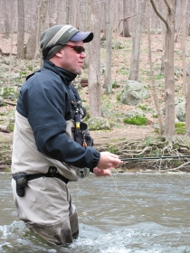 Fishing upstream in the Musconetcong River. Removing the Finesville dam will improve fishing at the former dam site. Credit: John Czifra