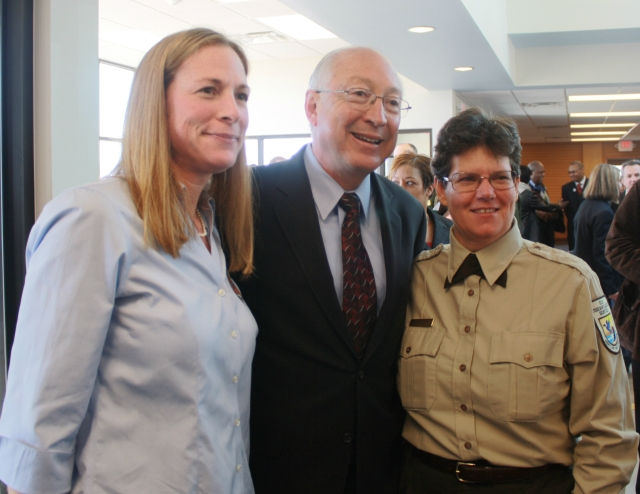 """Suzanne Baird (far right) with former Interior Secretary Ken Salazar and the Service's Northeast Regional Director Wendi Weber.  """"The national monument announcement event in March was an amazing experience that brought together so many of the partners, Tubman-Ross family members and community leaders to celebrate and give the long awaited national recognition to this iconic American figure that played such important role in the formation of our history.  Many of these players have been working for decades to see this designation and recognition realized.  It was a very emotional and exciting day and I feel privileged to have been a part of the celebration."""""""