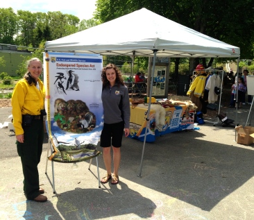 Today Meagan Racey (right) writes about Endangered Species Day at Stone Zoo in Massachusetts. On the left is Catherine Hibbard; both are public affairs specialists in the Northeast Regional office. Credit: USFWS