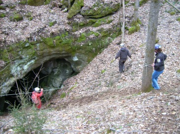 Group of biologists at the entrance to Limekiln Cave in Virginia to survey for Madison Cave Isopod. Credit: USFWS