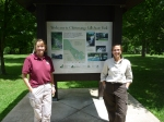 Biologists Sandra Doran and Robyn Niver of the U.S. Fish and Wildlife Service's New York Field Office stand by the state park sign. Credit: USFWS