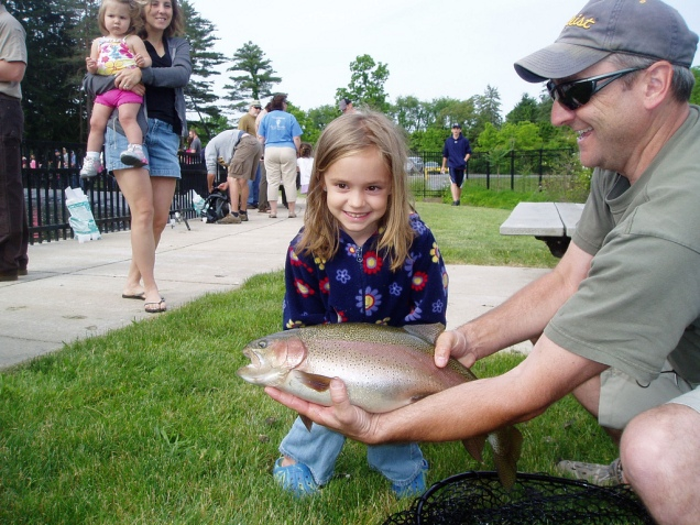 She reeled in a big fish at the Northeast Fishery Center's annual fishing event in Lamar, Penn. Credit: Joe Vickless/USFWS