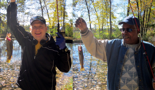 Veterans enjoy a fine fall day of fishing at Richard Cronin Salmon Station in 2012. Credit: Catherine J. Hibbard/USFWS