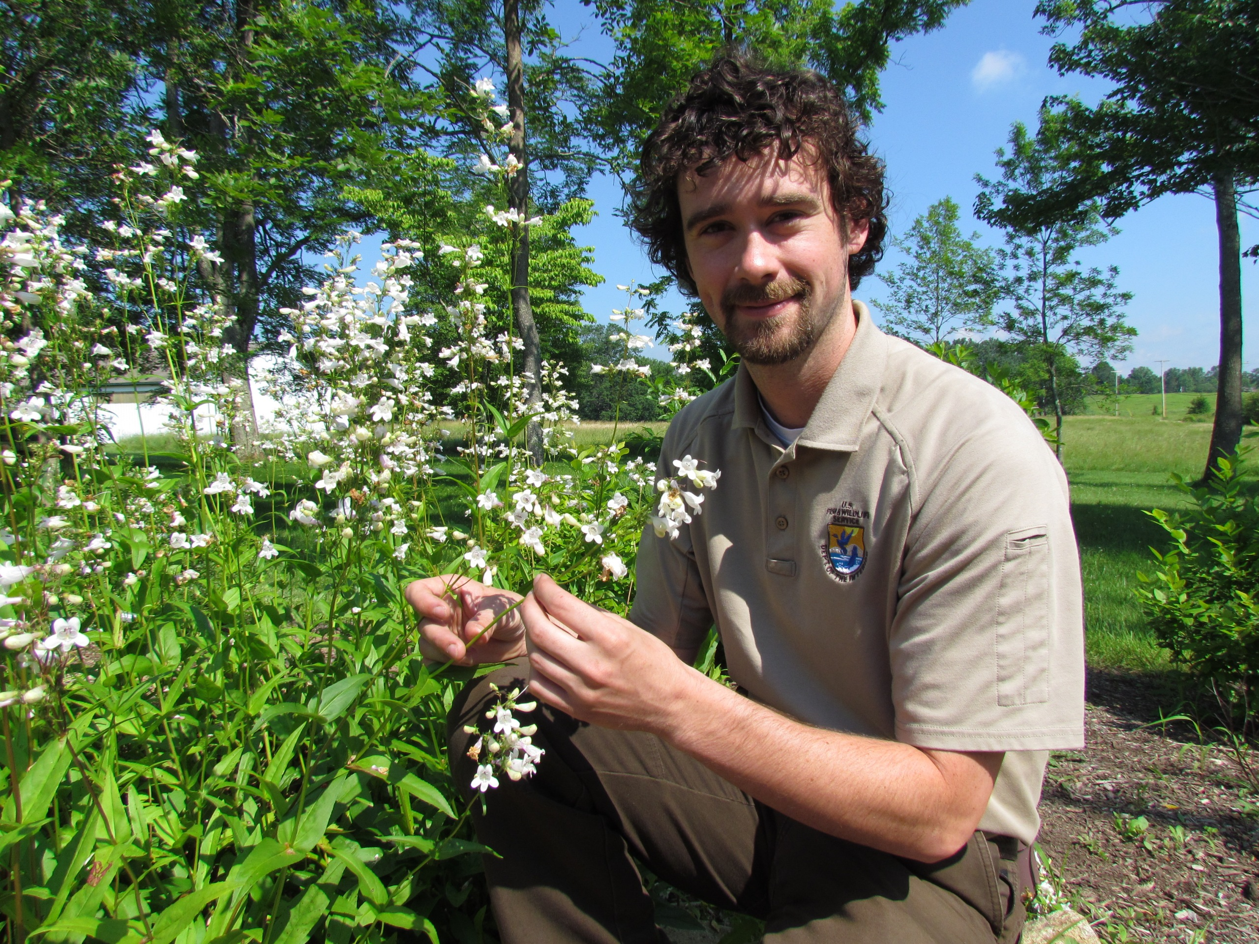 Visitor services specialist Dave Sagan in one of the pollinator gardens at Great Swamp National Wildlife Refuge. Credit: USFWS
