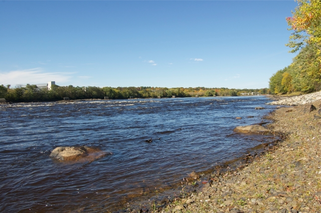 The former Great Works Dam site. Photo courtesy of the Penobscot River Restoration Trust.