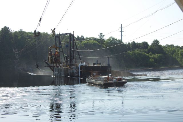 A photo of Veazie Dam by the Penobscot River Restoration Trust.