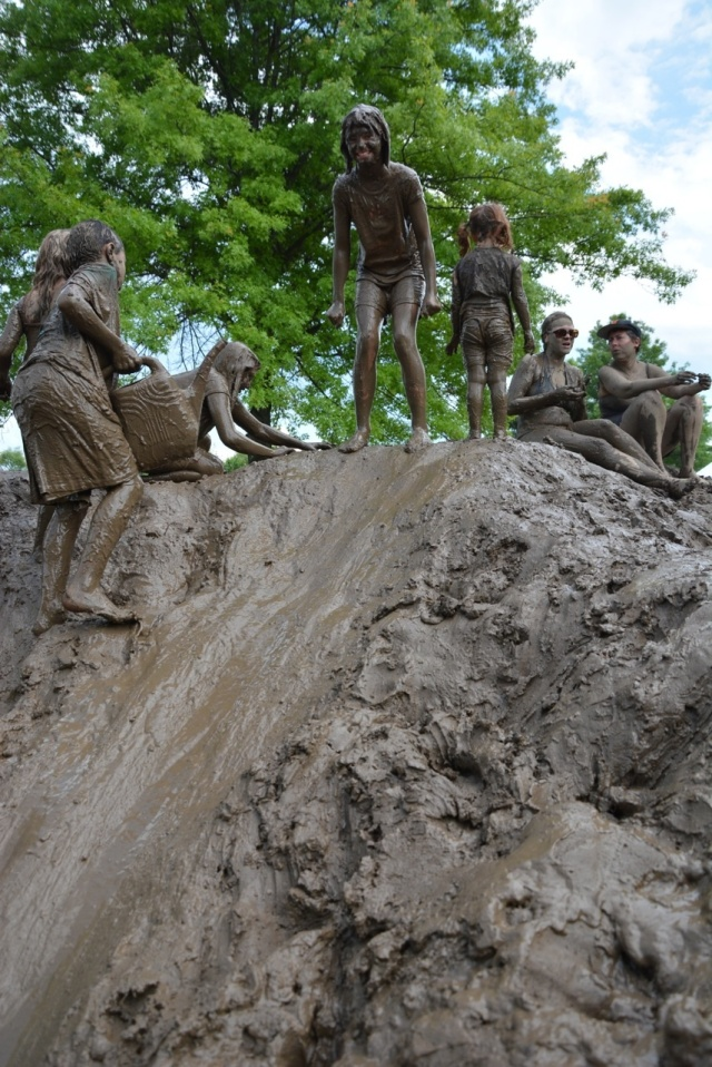 A shot of the mud hill at Ithaca Children's Garden. Credit: Rusty Keeler, Ithaca Children's Garden