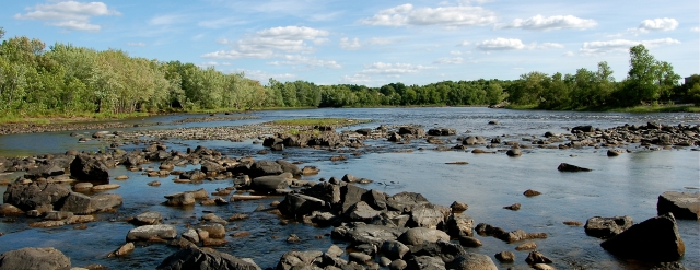 Looking downstream just below the Great Works Dam. Photo from Penobscot River Restoration Trust.