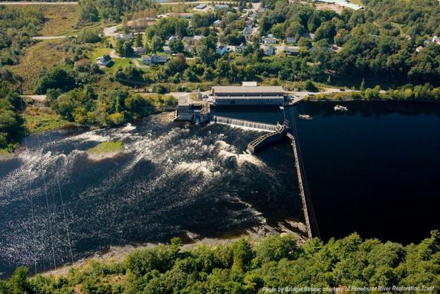 Photo of Veazie Dam on the Penobscot River between Eddington and Veazie. By Bridget Besaw, courtesy of Penobscot River Restoration Trust
