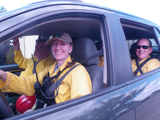 Information Officer Catherine Hibbard at the Big Windy Fire in Oregon