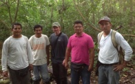 """Field crew in Ucayali. The two on the left, Elias Gil and Juan Vargas, are """"Materos"""" – trail openers. Photo courtesy of John."""