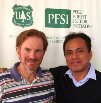 John standing with Oseas Barbaran, the president of the Confederation of Amazon Nationalities of Peru. Photo courtesy of John.