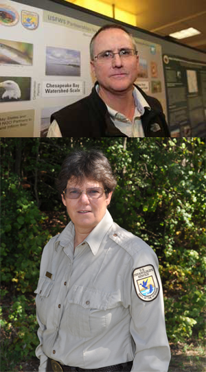 Today you're hearing from Dan Murphy (top), chief of habitat conservation in our Chesapeake Bay Field Office, and Suzanne Baird, manager of the Chesapeake Marshlands National Wildlife Refuge Complex. Photos courtesy of Dan and Suzanne.