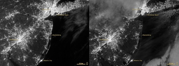 Blackout: Before and after Sandy hit the NY-NJ metro region. CREDIT: NASA