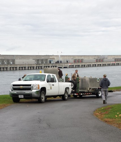 The Service's Genoa National Fish Hatchery truck at the St. Lawrence Power Project in Massena, N.Y. Photo Credit: Tom Brooking