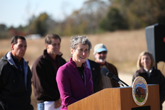 Secretary of the Interior Sally Jewell announces $162 million in Hurricane Sandy resiliency funding. CREDIT: Keth Shannon/USFWS