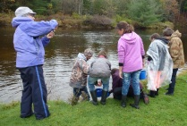 Students releasing buckets of fingerlings in the Salmon River at the Pine Ridge Campground. Credit: USFWS