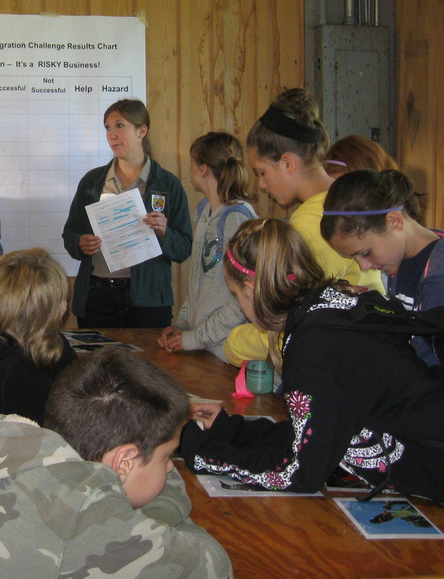 That's me, Bethany, giving the Great Migration Challenge activity instructions. Credit: USFWS