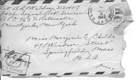 V-mail from North Africa in June 1943, addressed to Darrell's mother. Image courtesy of Darrell.