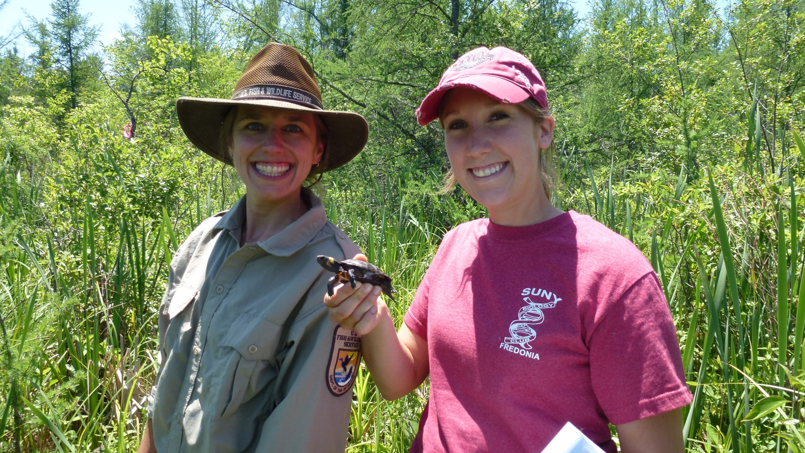 That's me on the right, standing with endangered species biologist Robyn Niver. Credit: USFWS