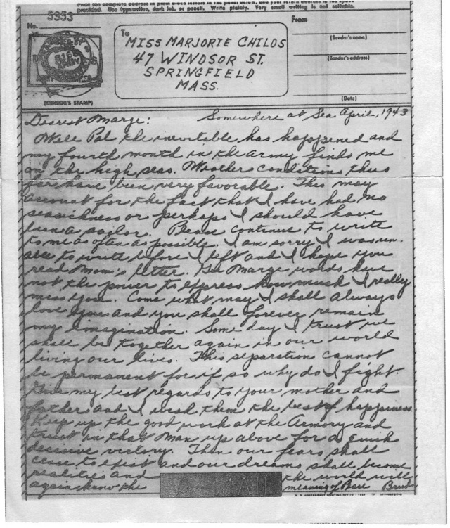 """An example of Victory Mail/V-Mail from 1943. Letters that soldiers sent from war zones were censored, copied to film and printed back to paper in the U.S. This one from Darrell's father was written from the troop transport that took him from the states to North Africa. He refers to the """"Armory""""; my mother went to work at the Springfield Armory to support the war effort at home. The armory is now a National Historic Site (http://www.springfield-armory.com/). Image courtesy of Darrell."""