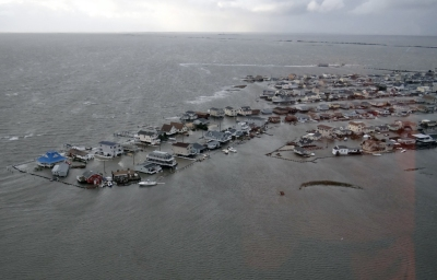 Flooded homes in Tuckerton, N.J., on Oct. 30 after Hurricane Sandy made landfall on the southern New Jersey coastline on Oct. 29. (US Coast Guard via AFP/Getty Images) Credit: Boston.com