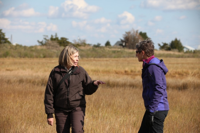 Refuge Manager Virginia Rettig gives Secretary of the Interior Sally Jewell a tour of the marsh at Forsythe. (Credit Keith Shannon/USFWS)