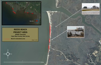 A map of the Reeds Beach restoration area. Inset: Greater Delaware Bay with beach restoration proposals highlighted in red. Credit: American Littoral Society.