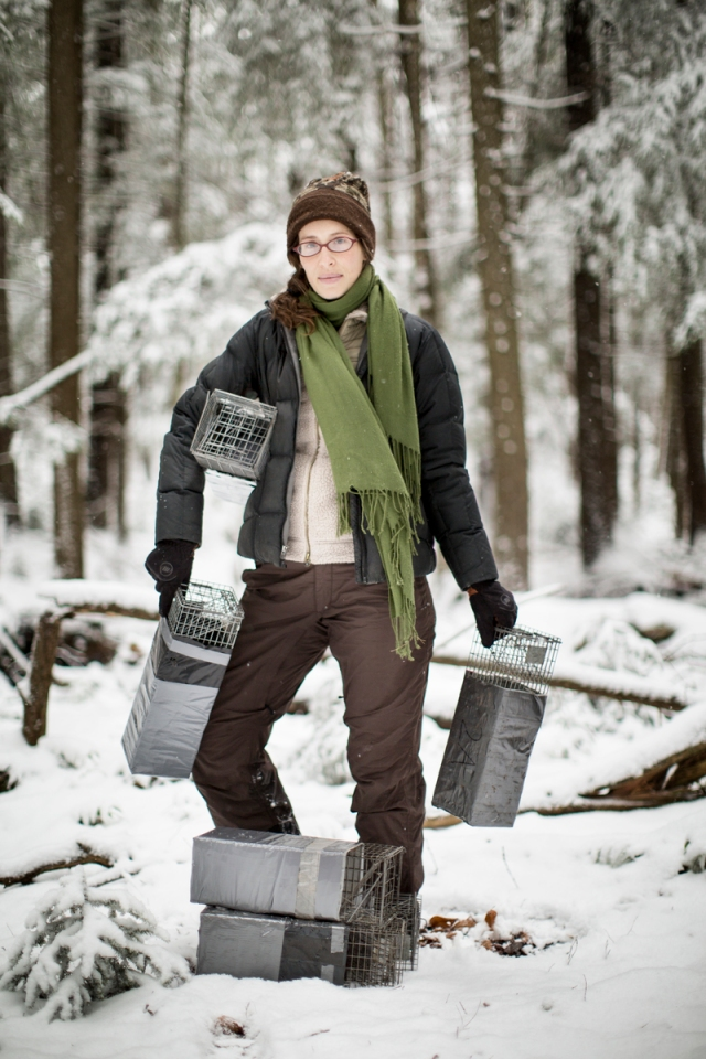 Virginia Tech doctoral student Corinne Diggins prepares live traps to capture and study West Virginia northern flying squirrels. © Patrick Cavan Brown for The Nature Conservancy