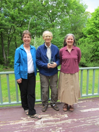 Biologists Susi von Oettingen and Anne Hecht presented the Recovery Champion award to Dr. Scott Melvin on May 30. Credit: USFWS