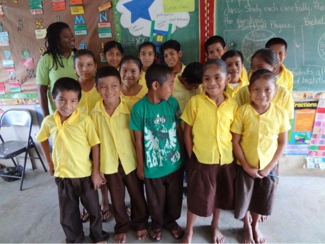 Students from Golden Stream Government School, Belize.  Photo courtesy of Belize Foundation for Research and Environmental Education.