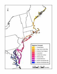 Survey regions for USFWS/SHARP Tidal Marsh Bird monitoring.