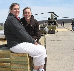 Today you're hearing from Suzanne Paton, biologist with our Coastal Program. Here she is on the right, sitting with Julianna Barrett of Connecticut Sea Grant, who secured funding for some of the lumber and who we are collaborating with to develop a habitat management plan for the island (along with the museum).