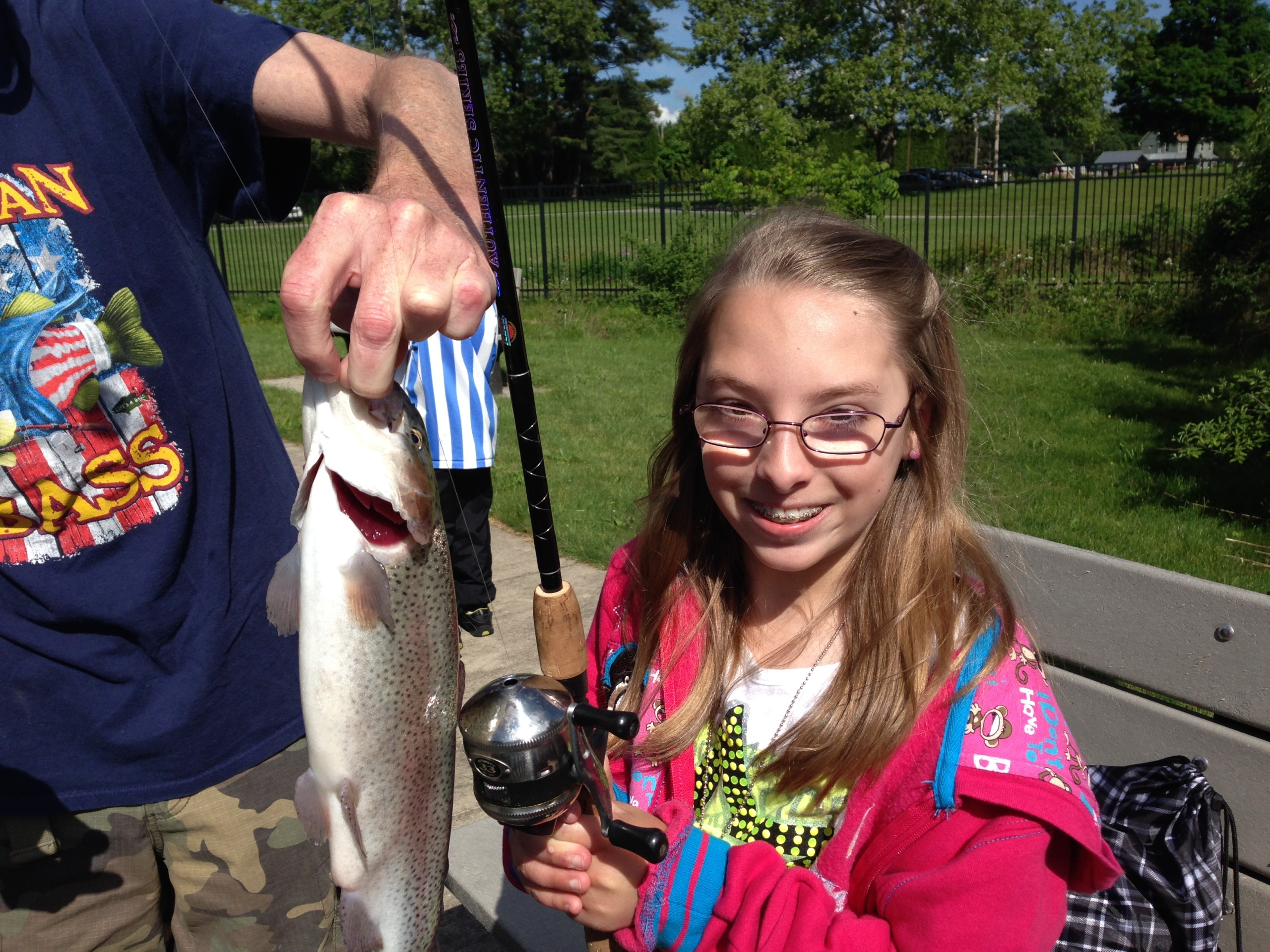 Alexa reels in a big catch at the Northeast Fishery Center Youth Fishing Derby. Credit: Catherine Gatenby/USFWS