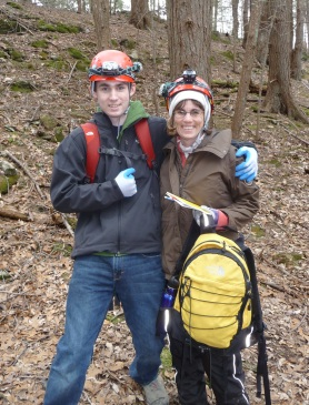 Anne Secord with her son after a survey of a bat hibernaculum. Anne was recognized by the U.S. Department of Interior with a damage assessment award for the successful completion of the St. Lawrence case. Photo courtesy of Anne.